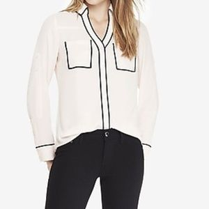 Express | Ivory w/ Black Piping Portofino Shirt  M